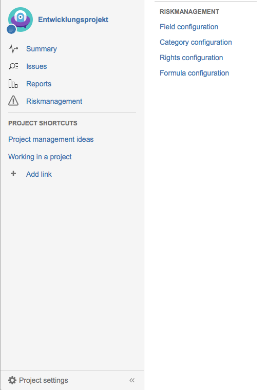 Jira Project settings - Agile Risk Management