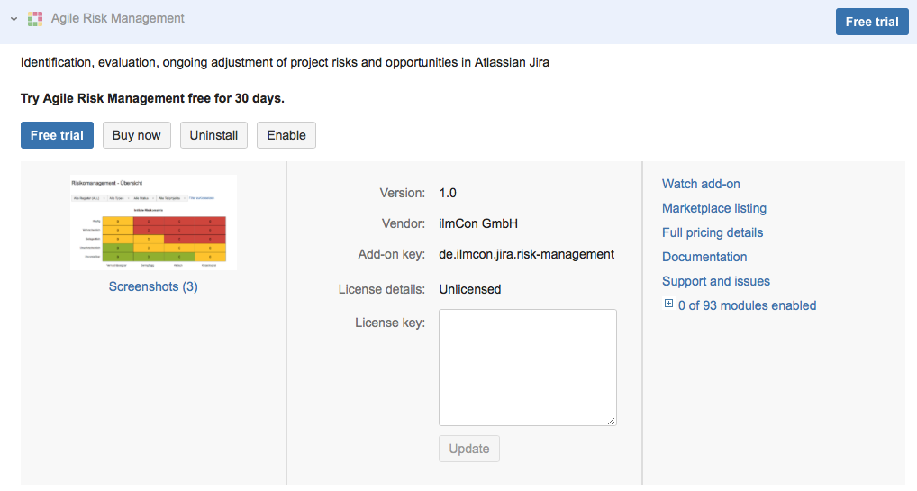 Purchase via Addon management in Jira